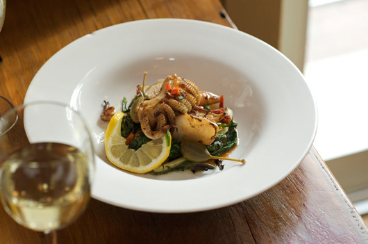 grilled calamari with white bean and spinich salad from cailoa's, portland, maine, photo by russell french