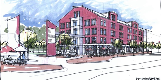 A proposed new development on West Commercial Street. These new buildings would be located on former railyards just west of downtown, adjacent to a planned off-street bicycling and walking path.